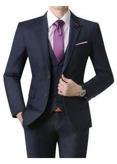 Doublju Men's 2 Button Suit Blazer Jacket Matte Dark Navy