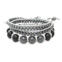 Pack de bracelet Tibétain & Wrap de couleur grise