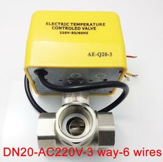 42.96$  Buy now - http://alitub.shopchina.info/go.php?t=32271900565 - 3/4'' AC220V+-10% 3 way L port Electric motorized Valve 6 wires for air Conditioning with signal feedback  #buyininternet