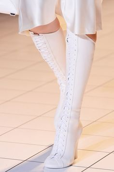 White Leather Lace Up Knee High Boots By Marco Zanini via heel chorus.tumblr.com (What I'd like)