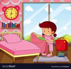 Girl making bed in pink bedroom vector image on VectorStock Art Drawings For Kids, Drawing For Kids, Art For Kids, Autism Learning, Kids Learning, Chores For Kids, Activities For Kids, Birthday Calendar Classroom, Flashcards For Kids