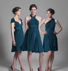 multiway knee length bridesmaid dress by in one clothing | notonthehighstreet.com comes in 2 shades of red
