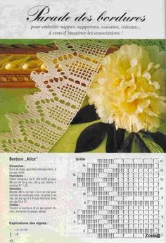 If you looking for a great border for either your crochet or knitting project, check this interesting pattern out. When you see the tutorial you will see that you will use both the knitting needle and crochet hook to work on the the wavy border. Filet Crochet, Crochet Lace Edging, Crochet Motifs, Crochet Borders, Crochet Stitches Patterns, Crochet Diagram, Crochet Chart, Thread Crochet, Love Crochet