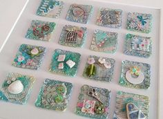 Items similar to Warm Berry Inchies ~ Original Inchie Art ~ on Etsy Inchies, Creative Textiles, Crazy Patchwork, Felt Patterns, Mini Quilts, Easy Quilts, Vintage Stamps, Paper Hearts, Fabric Jewelry
