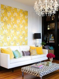 patterned and colored living room