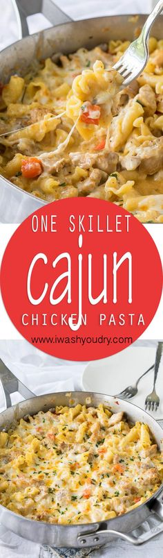 This Cajun Chicken Pasta Skillet is creamy, cheesy and slightly spicy ! This easy dinner recipe is made in just one skillet too!
