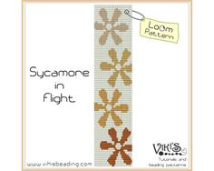 Loom Pattern: Sycamore in Flight  cuff bracelet  INSTANT