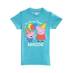 Personalized Peppa Pig Peppa and George Birthday Aqua Toddler Girls' Fitted T-Shirt, Size: 25 - 48 Months, Blue Peppa Pig Shirt, Peppa Pig Outfit, Birthday Shirts, Pig Birthday, Birthday Ideas, Third Birthday, Birthday Presents, Peppa Pig Family, Toddler Girls