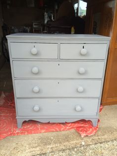 Painted Rust-Oleum Chalk Paint Anthracite and finished with a clear wax. Original wooden hardware painted also.
