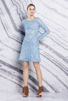 Hervé Léger by Max Azria Resort 2016 - love this pool-blue a-line, long sleeved party dress with intricate crochet