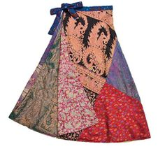Gypsy Living Traveling In Style| Serafini Amelia| Silk Patchwork Reversible 3/4 Panel Skirt (India)