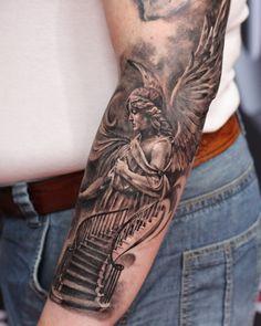 Angel Tattoo Realistic Tattoo Sleeve, Best Sleeve Tattoos, Sleeve Tattoos For Women, Arm Tattoos For Guys, Aztec Tattoo Designs, Family Tattoo Designs, Tattoo Sleeve Designs, Stairway To Heaven Tattoo, Religous Tattoo