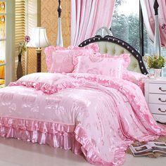 Textile luxurious satin jacquard bedding 100% cotton the  bedding piece set gdz-in Bedding Sets from Home & Garden on Aliexpress.com