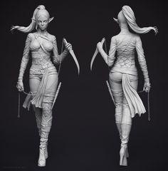 Dark Elf Assassin 3D character Zbrush sculpt (Young-june Choi's concept) by digital artist Adam Fisher of Australia!!! http://adamfish...