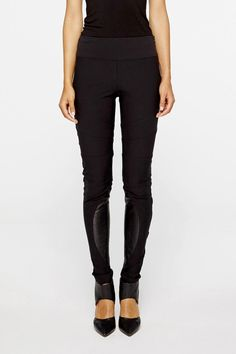 These seamed riding pants feature a wide waistband and leather insets. Side zipper closure.    Inseam: 28in / 71cm; Rise: 7in / 18cm     Nina Skinny Pants by Nicole Miller. Clothing - Bottoms - Pants & Leggings - Skinny Clothing - Bottoms - Pants & Leggings - Black New Hampshire