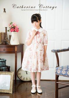 パールの付け襟付き ローズシフォンワンピース   子どもドレス 子供ドレス キャサリンコテージ 花柄
