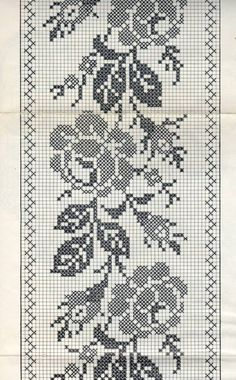 Gallery.ru / Фото #56 - 1α - ergoxeiro Cross Stitch Borders, Cross Stitch Rose, Cross Stitch Flowers, Cross Stitch Designs, Cross Stitching, Cross Stitch Embroidery, Hand Embroidery, Cross Stitch Patterns, Crochet Curtain Pattern
