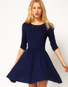 vestido falda vuelo asos azul