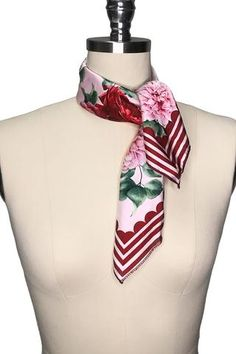 Perfect for pairing with all your favourite 'La Femme de Paris' designs, the 'La Femme de Paris' scarf features a gorgeous floral print with red and pink stripe trim. Wear in your hair, on your neck, or tied on your handbag! x Printed Matte Satin Gothic Chic, Scarf, Matte Satin, Pink Stripes, Playsuit, Red And Pink, Black Tops, Your Hair, Floral Prints