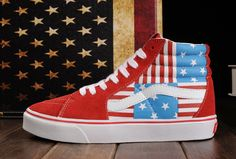 Limited Edition Red Vans American FLag Beckham SK8 Hi Skateboard Shoes  Vans  Red Vans 66faaef30