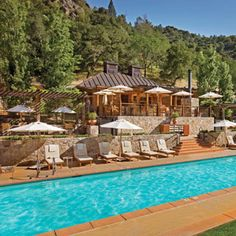 Calistoga Ranch, Napa Valley, California. (possible Honeymoon location?)  Foodies relish this California resort's wine-tasting seminars; all go gaga (including Lady Gaga herself!) for the 48 cottages' private patios and outdoor showers. The sublime Bathhouse Spa offers mineral pool soaks, healing mud wraps, and lavender body balm massages.