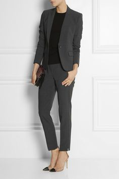 "Dary Gray Theory Pantsuit with black top and edgy ""nude"" shoes"