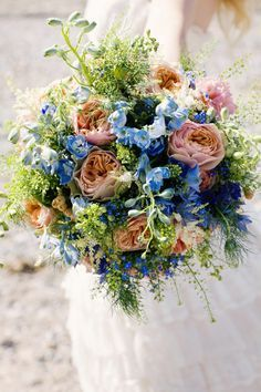 cobalt and coral wedding bouquets | Wedding Ideas Vintage Bridal Bouquet Wild Blue Peach Coral Green http ...