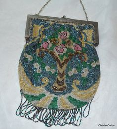 Steel Cut Bead Purse with Floral Vase Design by ChristiesCurios