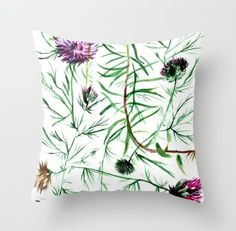 This illustration was created for the love of strong, sharp petals, immortal flowers. Thistles in vivid colors catch the eye with their all over entanglement. Thistles, Home Deco, Vivid Colors, Strong, Throw Pillows, Eye, Create, Illustration, Flowers