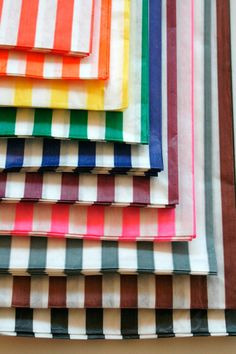 Set of  50 - Traditional Sweet Shop Candy Stripe Paper Bag Variety - All Colors - 5 x 7 - New Style
