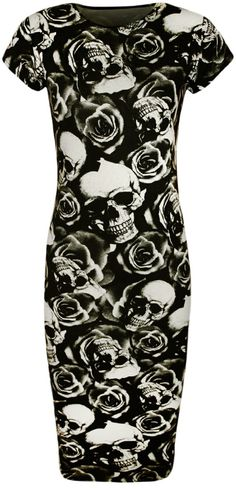 Amazon.com: PaperMoon Women's Skull Rose Print Short Sleeve Midi Dress