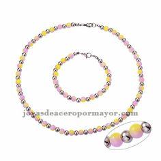 juego brezalete y collar de perla amarilo mezcla morado especial y bola plateado…