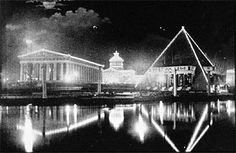 Tennessee Centennial and International Exposition - Nashville & Memphis pavilions at right, seen over Watauga Lake, with Commerce Bldg. at rear.
