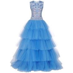 Naeem Khan Tiered Tulle Gown With Floral Scroll Embroidered Bodice ($9,990) ❤ liked on Polyvore featuring dresses, gowns, tulle gown, blue evening gown, tulle ball gown, blue floral dress and blue sleeveless dress