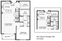 A9 – One Bedroom Apartment / One Bathroom  880 Square Feet