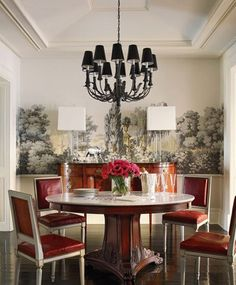 Brooke Shields' Dining Room Tole chandelier, Laurin Copen Antiques; vintage marble-top pedestal table, Ralph Lauren Home; Les Lointains wallpaper, Zuber; floor stain, Palm Beach Black, Sydney Harbour Paint.