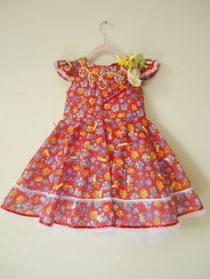 Vestido festa junina infantil +tiara 011