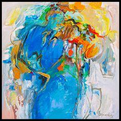 """""""Blue Trumpet Voice""""  Acryl op doek 100x100 cm"""