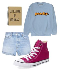 """SCHOOL #7"" by j1a1z1z1z ❤ liked on Polyvore featuring GRLFRND and Converse"