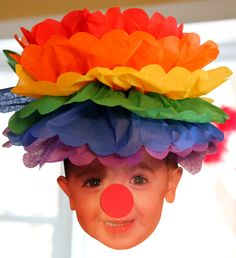Circus Carnival Fair Clown pom pom kit  wig and nose personalize it with your own face. $4.99, via Etsy.