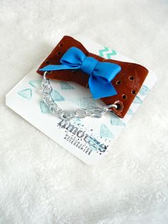 Punched Leather  True Blue Bow Brooch  Metal Chain  by limouze