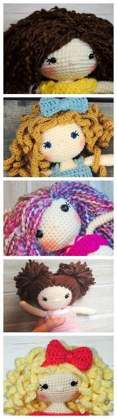 How to Attach Hair to a Crochet Doll- Three different ways! Plus how to avoid bald spots and make ringlets!