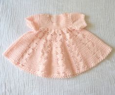 Vintage baby dress, 12 months. Crocheted. Empire waisted with geometric triangle design. $14.00, via Etsy.