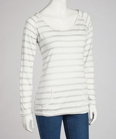Take a look at this White Cloud Stripe Hooded Top by Cripple Creek on #zulily today!