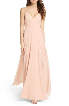 Free shipping and returns on Lulus Surplice Chiffon Gown at Nordstrom.com. Subtle pleats add flattering dimension to the attractive surplice bodice of a romantic chiffon gown finished with a floor-sweeping A-line skirt. Adjustable spaghetti straps show off your shoulders and let you customize the fit.