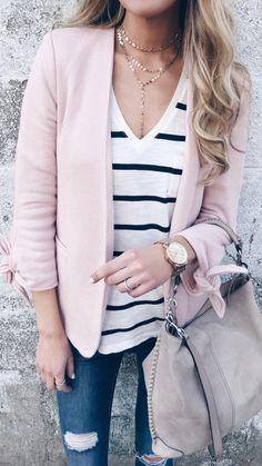 casual Spring outfit ideas - sweatshirt blazer over striped tee on pinteresting plans connecticut fashion blog