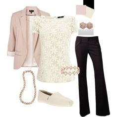 """""""Blush and Ivory Teacher outfit"""" by panoala on Polyvore I like the blouse because it is conservative but not old-lady-ish."""