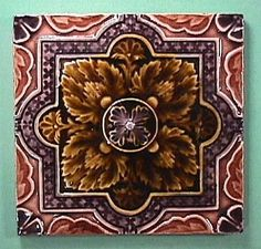 Antique English Majolica Gothic Revival Tile in Strong Relief (up to 3 available): Removed Art Nouveau Tiles, Art Deco, Tic Tac Tiles, Unique Tile, Art And Craft Design, House Tiles, Vintage Tile, Decorative Tile, Tile Art