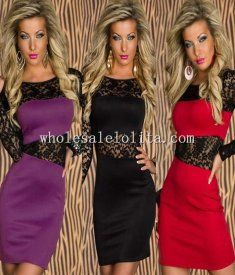 Long Sleeves Lace Insert Club Dress