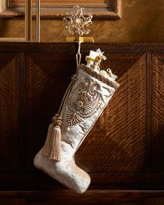 Pearl Paisley White Christmas Stocking by Jay Strongwater at Neiman Marcus.